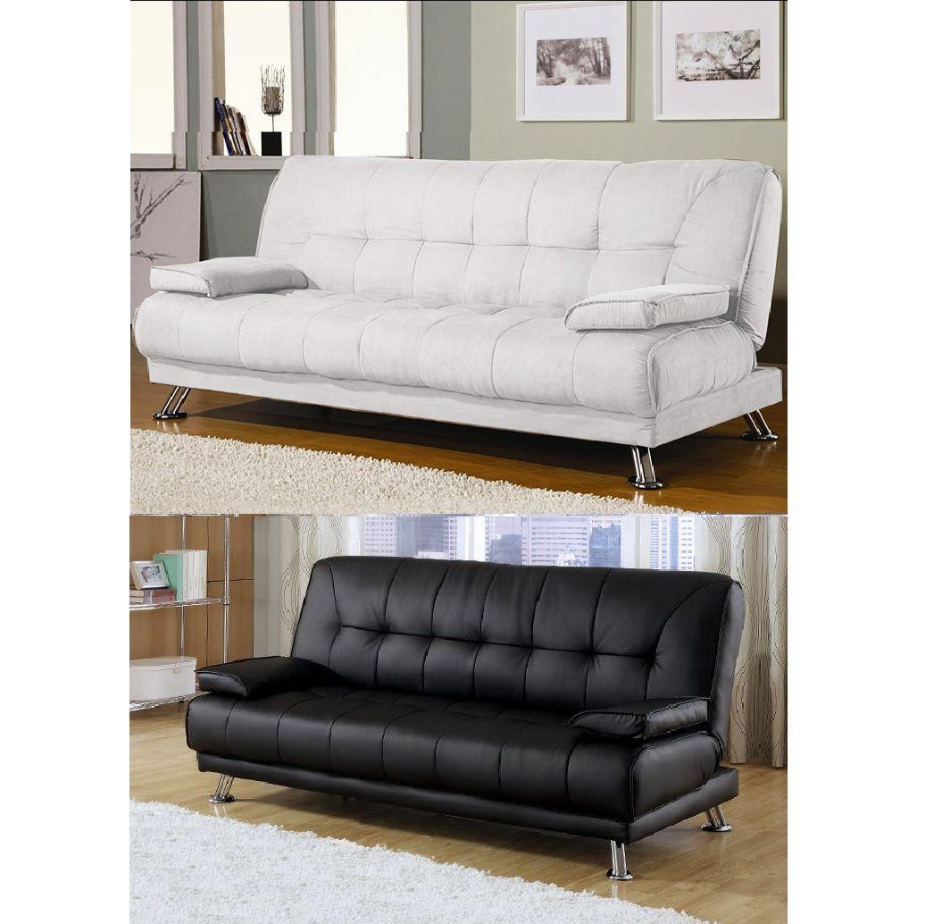 Divano letto francesca 187x88 3 posti cuscini bianco nero - Letto a divano ...