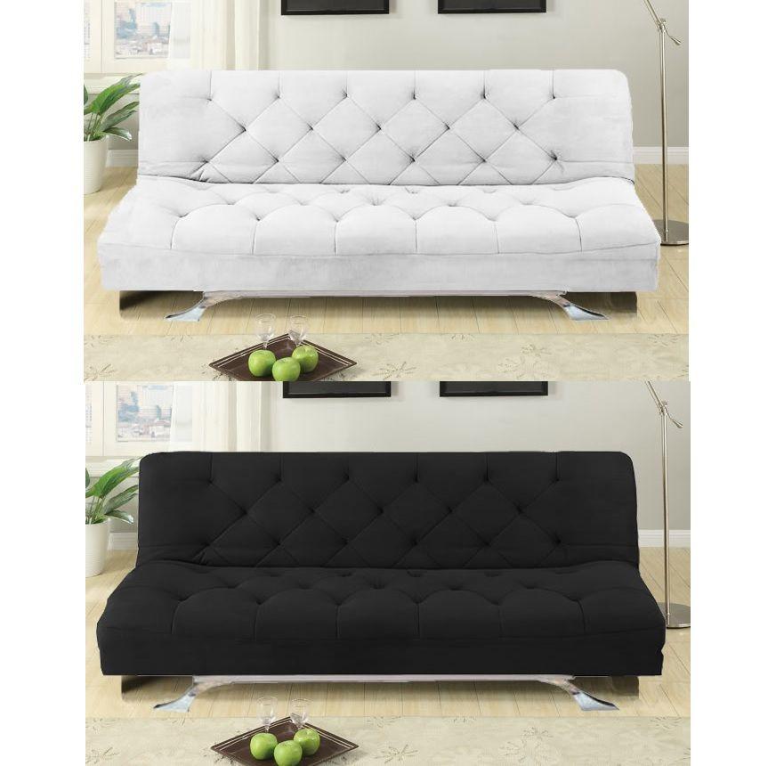 Divano letto reclinabile luciana 195x87 microfibra bianco nero in offerta - Divano letto in offerta ...