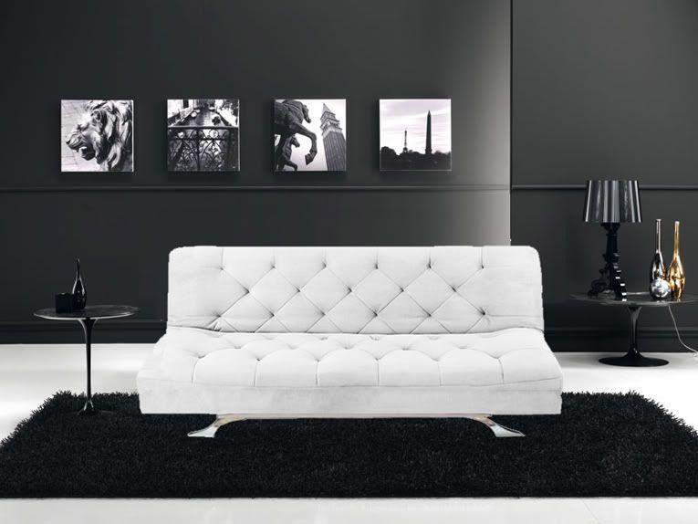 Divano sofa letto 195x115 bianco in microfibra reclinabile - Microfibra divano ...