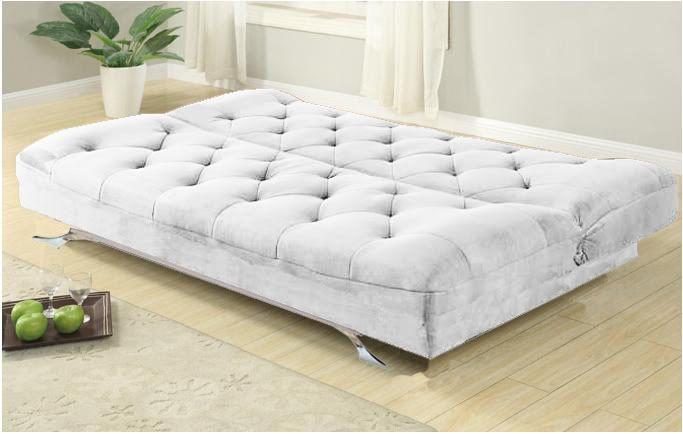 Divano letto reclinabile Luciana 195x87 microfibra bianco in offerta