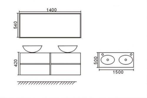 Arredo bagno topazio2 mobile moderno con doppio lavabo pd - Misure lavabo bagno ...