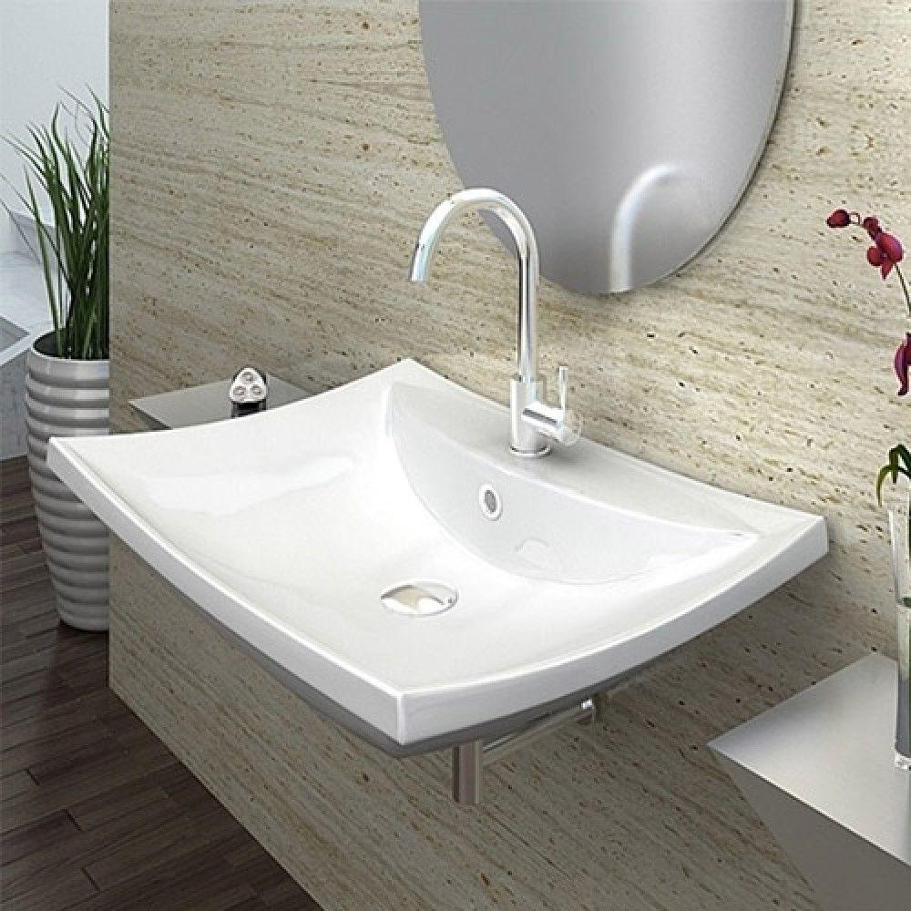 lavabo da appoggio sospeso rettangolare 59x44x16 smussato ceramica bianco modello denise. Black Bedroom Furniture Sets. Home Design Ideas