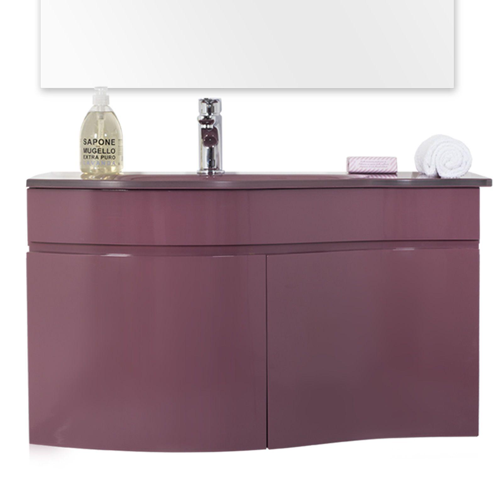 mobile bagno in 9 colori per arredo lavabo in cristallo + ... - Arredo Bagno Marsala