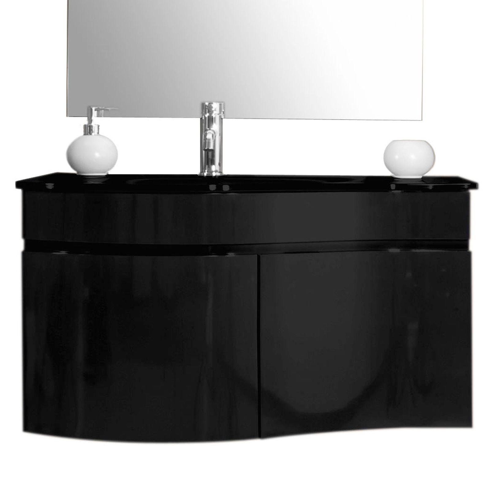 Arredo bagno asia completo di lavabo in cristallo bz for Arredo bagno bianco