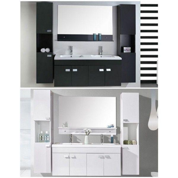 Mobile bagno lady 120 cm nero doppio lavabo in ceramica 2 - Bagno bianco e nero ...