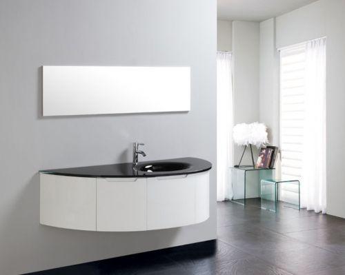 Mobile bagno beta con lavabo in cristallo colorato bz - Bagno grigio e bianco ...
