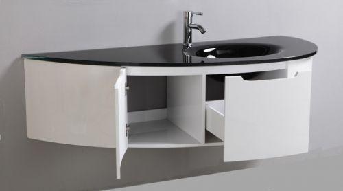 Mobile bagno beta con lavabo in cristallo colorato bz - Arredo bagno viola ...