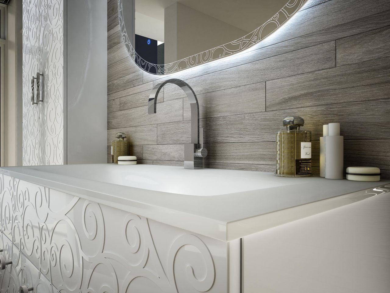 Mobile arredo da bagno milos sospeso 100 cm bianco nero - Come spiare in bagno ...