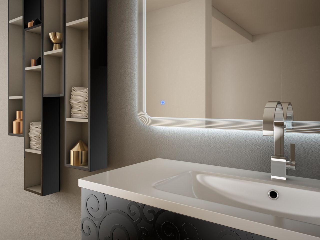 Mobile arredo da bagno milos sospeso 100 cm bianco nero lucido lavabo in ceramica - Mobile bagno bianco lucido ...