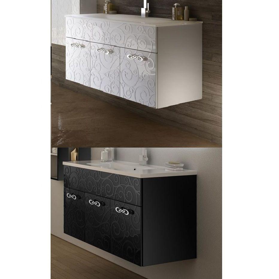 Mobile arredo da bagno Milos sospeso 100 cm bianco nero lucido lavabo ...