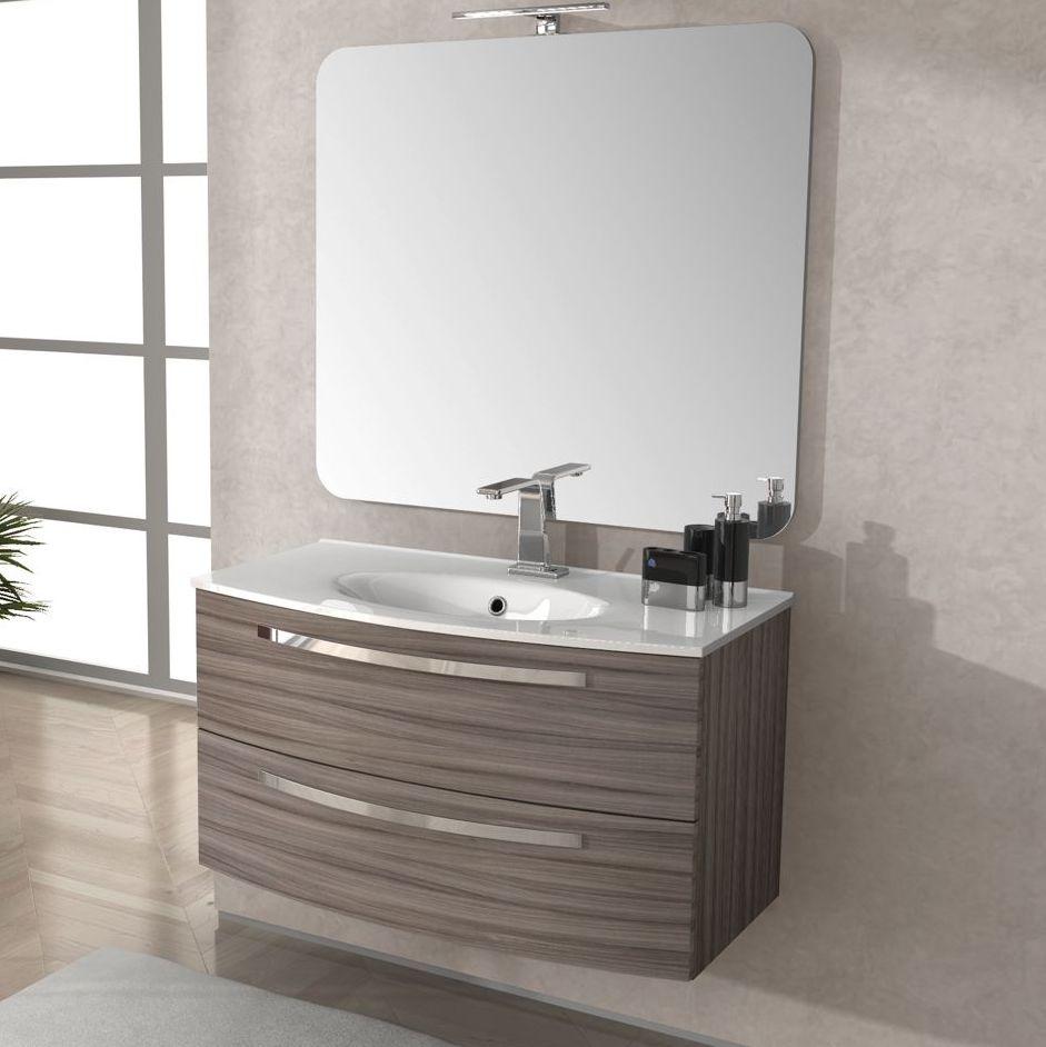 Arredo mobile da bagno 100 cm lavabo ceramica grigio scuro mobili legno ebay - Mobile bagno lavatrice lavabo ...