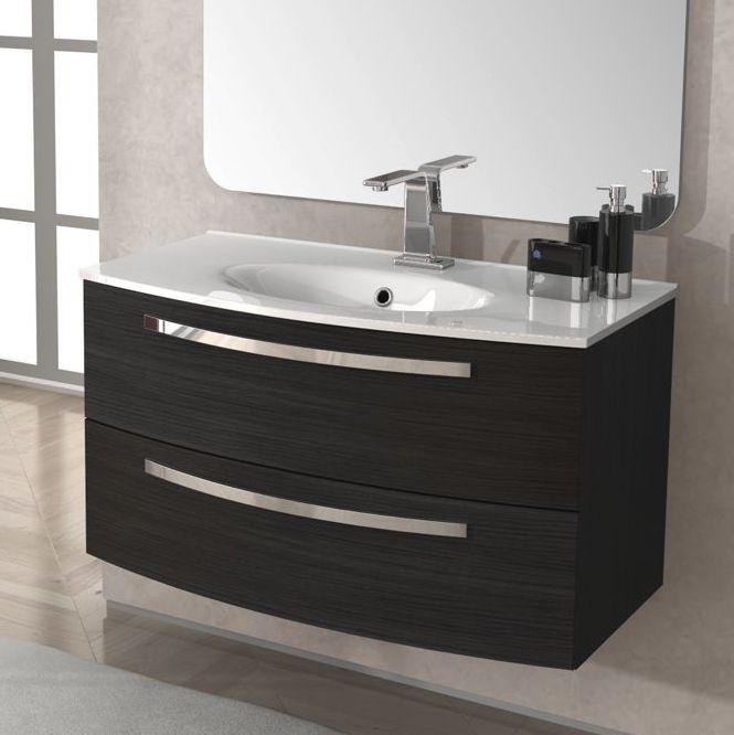 Mobile bagno stella 100 cm con lavabo colore grigio scuro ...