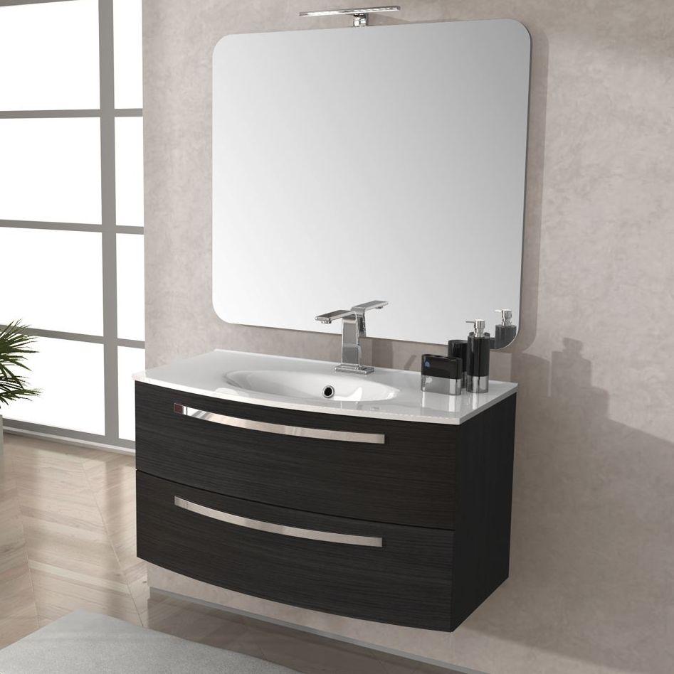 Mobile bagno stella 100 cm con lavabo colore grigio scuro larice ...