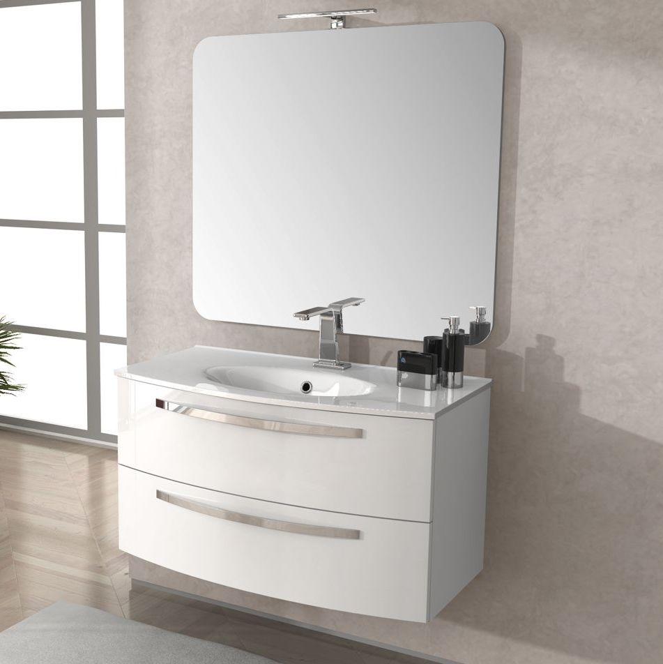 Arredo mobile da bagno 100 cm lavabo ceramica grigio scuro for Mobile bagno 100 cm