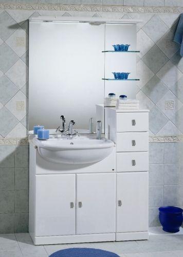 pensile bagno 14 20 60 cm : Mobile Bagno Cleo cm 85 bianco lucido lavabo integrale