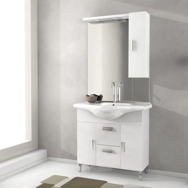 mobile bagno rovereto 85 105 cm con piedini bianco lucido larice ... - Lucido Cabinet Grigio Lavandino