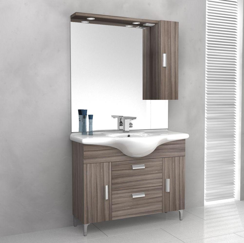 Mobile bagno rovereto 85 105 cm con piedini bianco lucido - Mobile bagno leroy merlin ...