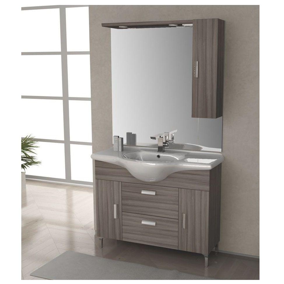 Mobile bagno rovereto 85 105 cm con piedini bianco lucido larice wenge grigio lavabo in ceramica - Mobile bagno bianco lucido ...