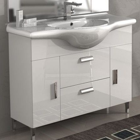 Mobile bagno rovereto 85 105 cm con piedini bianco lucido - Mobile bagno nero lucido ...
