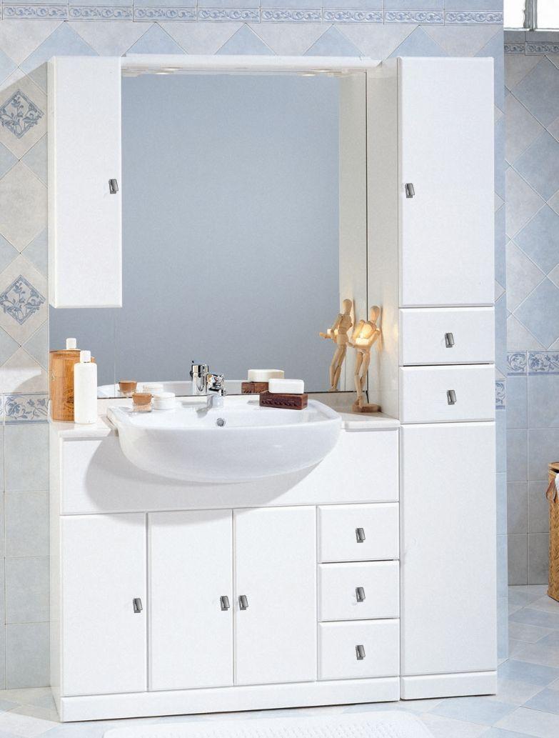 Mobile Bagno Cleo cm 100+30 con lavabo semincasso e colonna