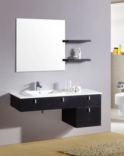 Mobile da bagno kelly 120 nero con specchiera e mensole in offerta pd - Specchio d arredo ...