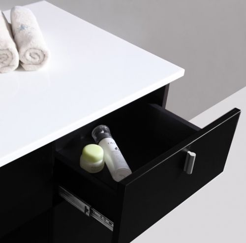 Mobile da bagno kelly 120 nero con specchiera e mensole in offerta pd