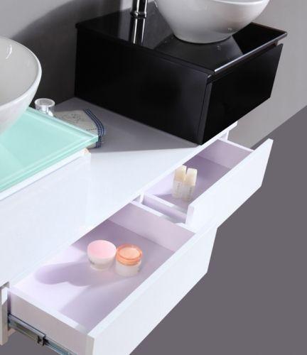 Arredo bagno smeraldo 150 bianco lavabo d 39 appoggio pd for Bagno doppio lavabo offerta