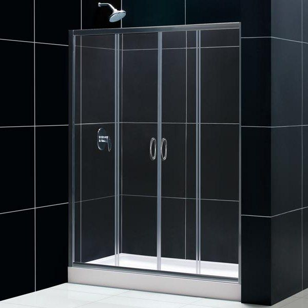 Porta per doccia a nicchia 2 ante scorrevoli cristallo trasparente pa - Porta doccia vetro ...