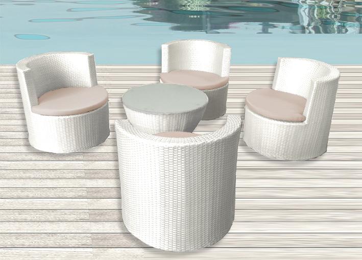 Tavolo E Sedie Rattan Bianco.Set 4 Poltrone Bianco Marrone Cuscino Tavolino Arredo Rattan