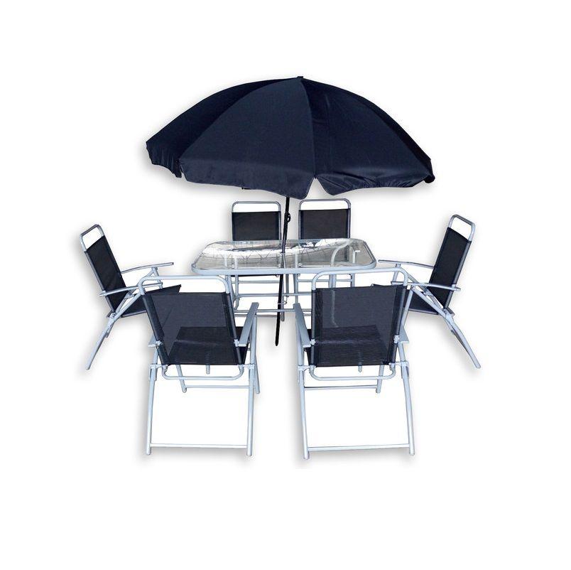 Arredo da esterno jane con tavolo in vetro 6 sedie con - Tavolo con sedie da esterno ...
