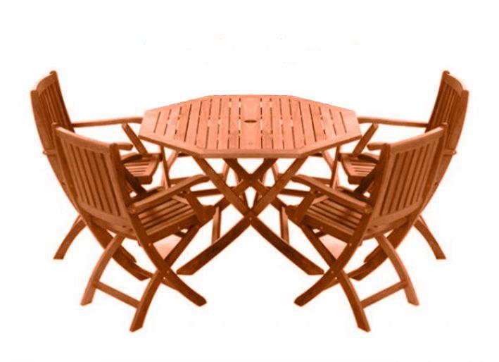 Arredo per esterni jessica tavolo legno sedie pieghevoli con