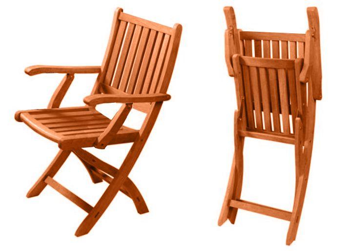 Arredo per esterni jessica tavolo legno 4 sedie pieghevoli for Sedie da giardino economiche