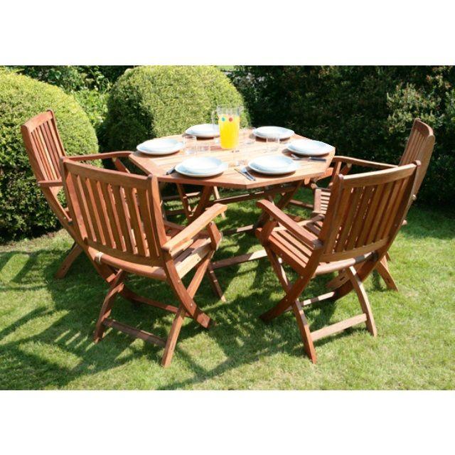 Arredo per esterni jessica tavolo legno 4 sedie pieghevoli for Arredo giardino in legno