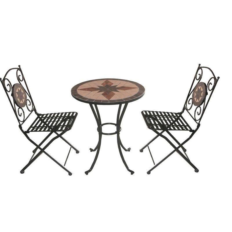 Arredo per esterno jody tavolo con mosaico 2 sedie in - Set da giardino ferro battuto ...