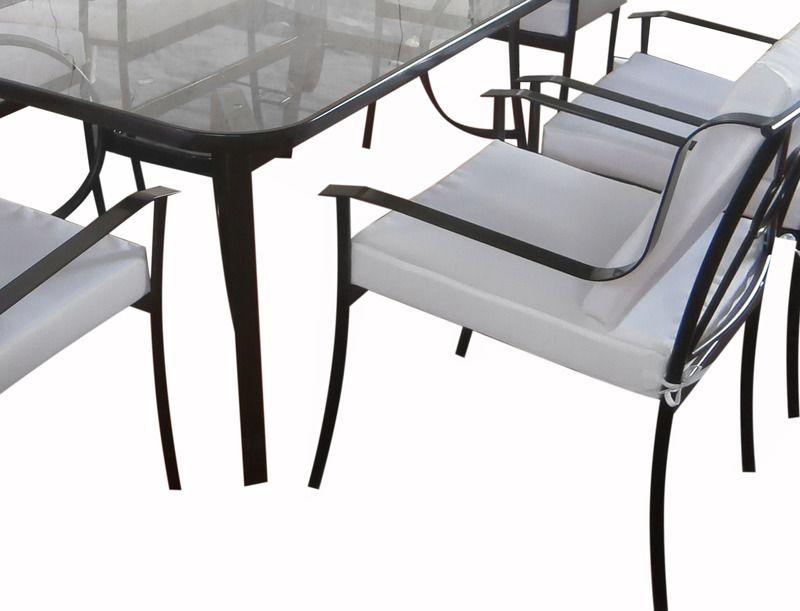 Arredamento da esterni tavolo vetro 6 sedie ferro con cuscini bianchi arredo wsd ebay - Tavolo ferro giardino ...