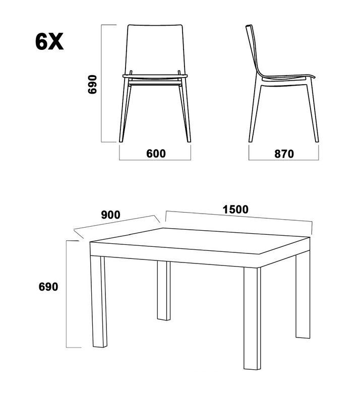 Arredamento da esterno giardino tommy con tavolo 6 sedie - Tavolo da pranzo misure ...