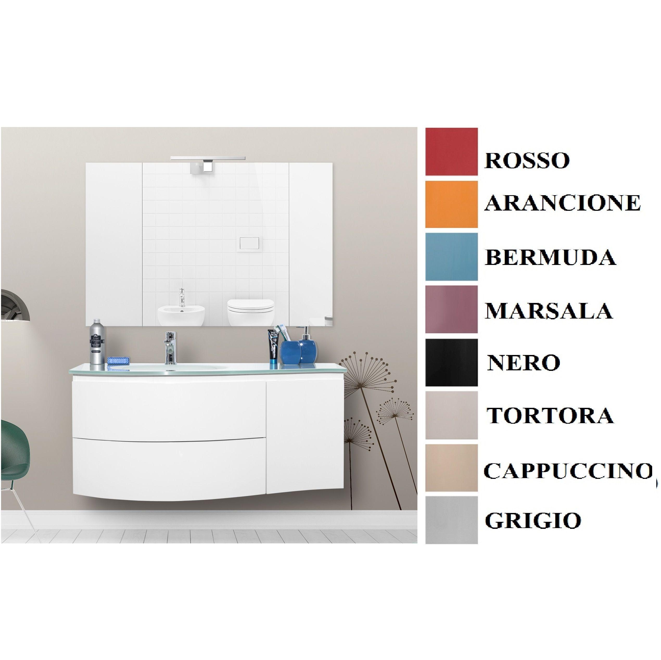 mobile bagno asia3 110 cm con lavabo in cristallo decentrato in ... - Arredo Bagno Marsala