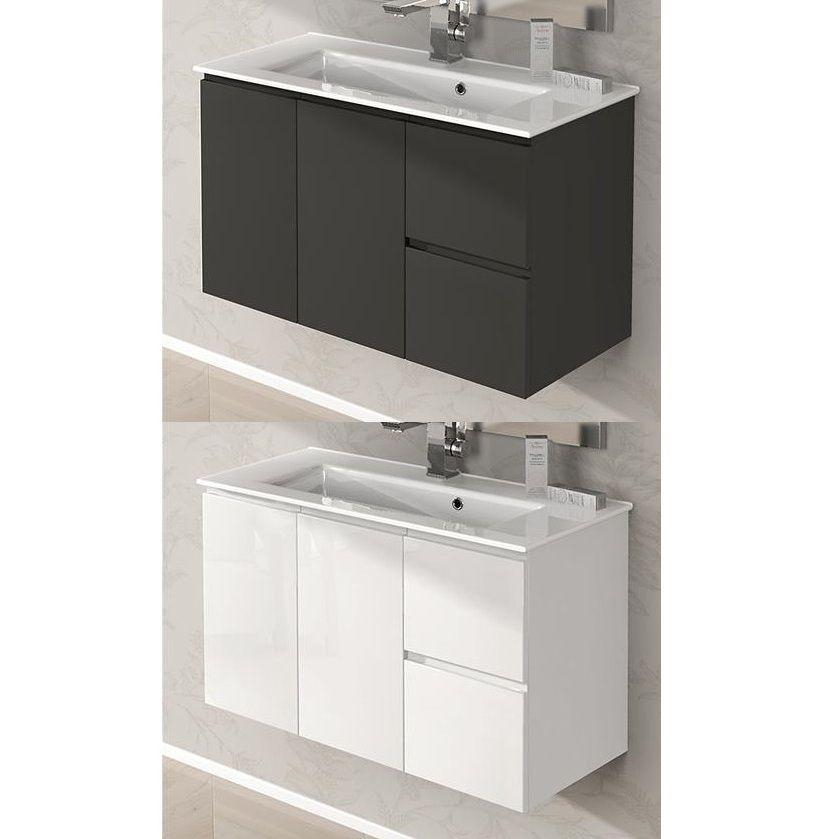 Mobile bagno Omega 80x35 o 100x35 ultra slim lavabo in ceramica arredo ...