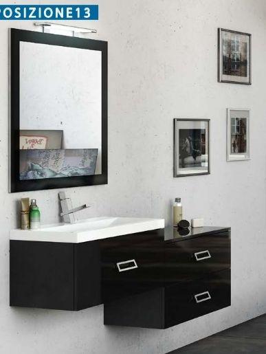 Mobile bagno magic3 da 110 120 130 140 150 160 cm decentrato con cassetti in pi di 25 colori bb - Bagno largo 110 cm ...