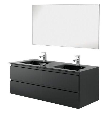 Arredo Bagno Mobile Black cm 120 doppio lavabo in cristallo disp nero ...