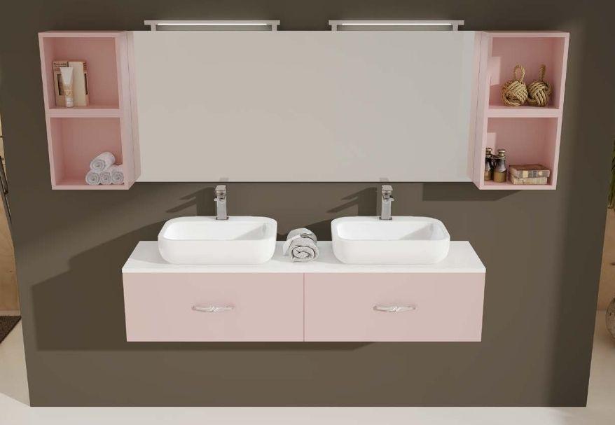 arredo bagno moderno ice, doppio lavabo, in 30 colori bb - Arredo Bagno Colore Rosa
