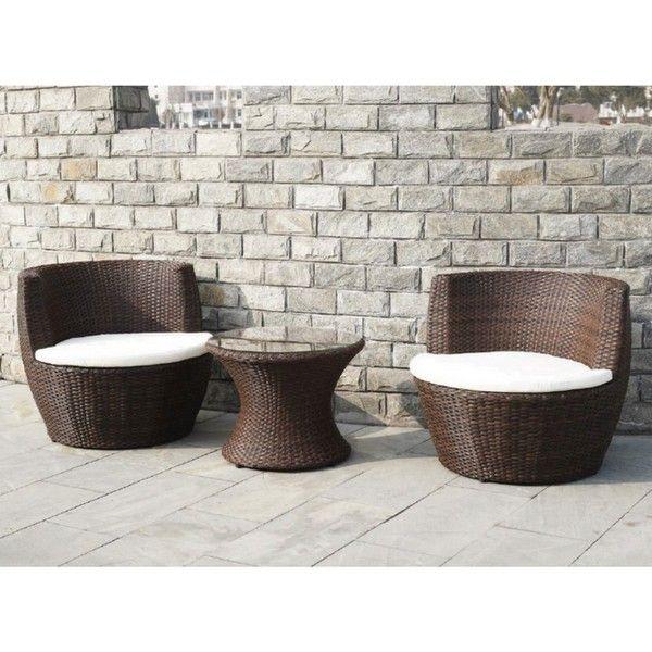 Dettagli su Arredo per esterno moderno set poltrone tavolino giardino vetro  rattan marrone 2