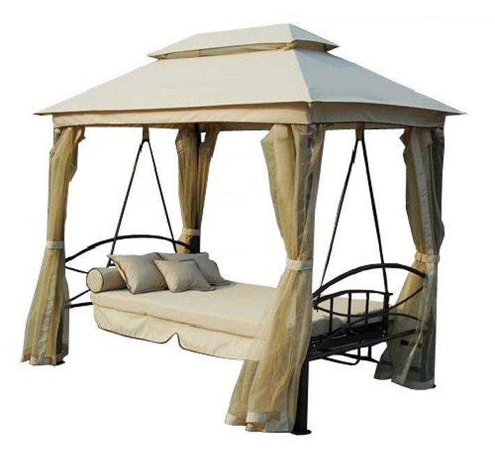 Arredo per esterno gazebo con dondolo realizzato in ferro con tende e cuscini in poliestere - Dondolo da giardino prezzi ...