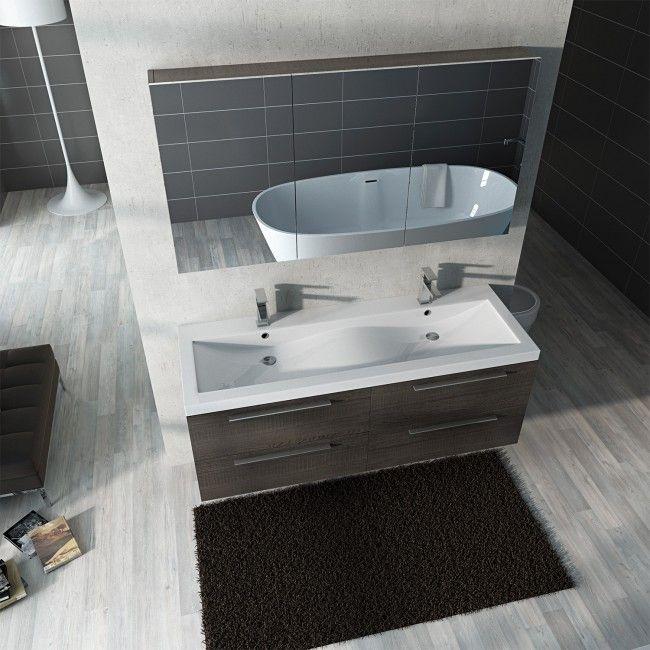 Mobile da bagno moderno double doppio lavabo 3 colori pa - Mobile bagno con doppio lavabo ...