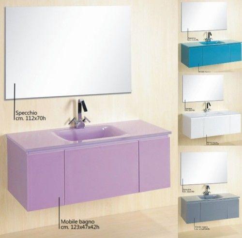 Mobile bagno amos mobile arredo moderno vari colori bz - Mobile bagno viola ...