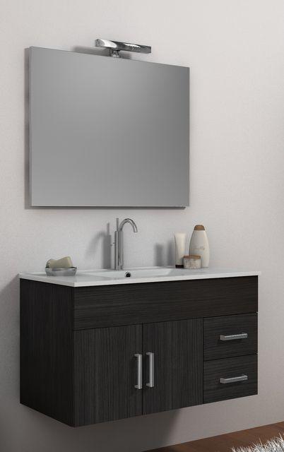 Mobile da bagno moderno isabel con lavabo e specchio bh - Arredo bagno grigio ...