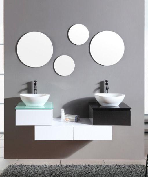 Arredo bagno mobile con doppio lavabo da appoggio bianco - Bagno doppio lavandino ...