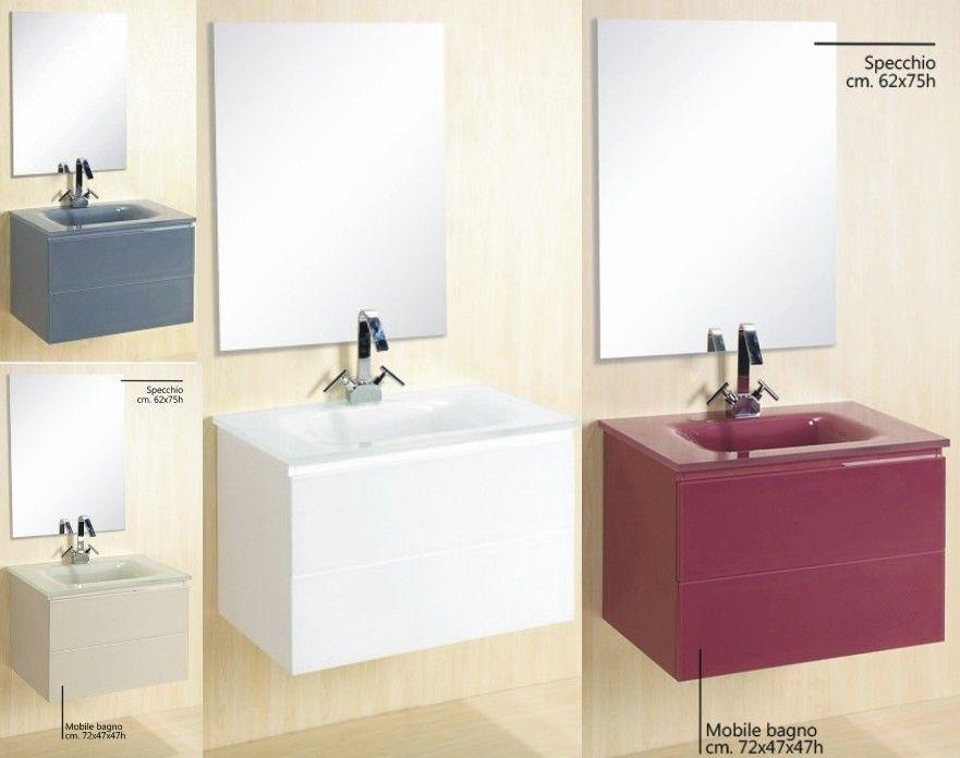 Arredo bagno virgo lavabo in cristallo dimensioni 72 tre colori bz - Mobiletto salvaspazio bagno ...