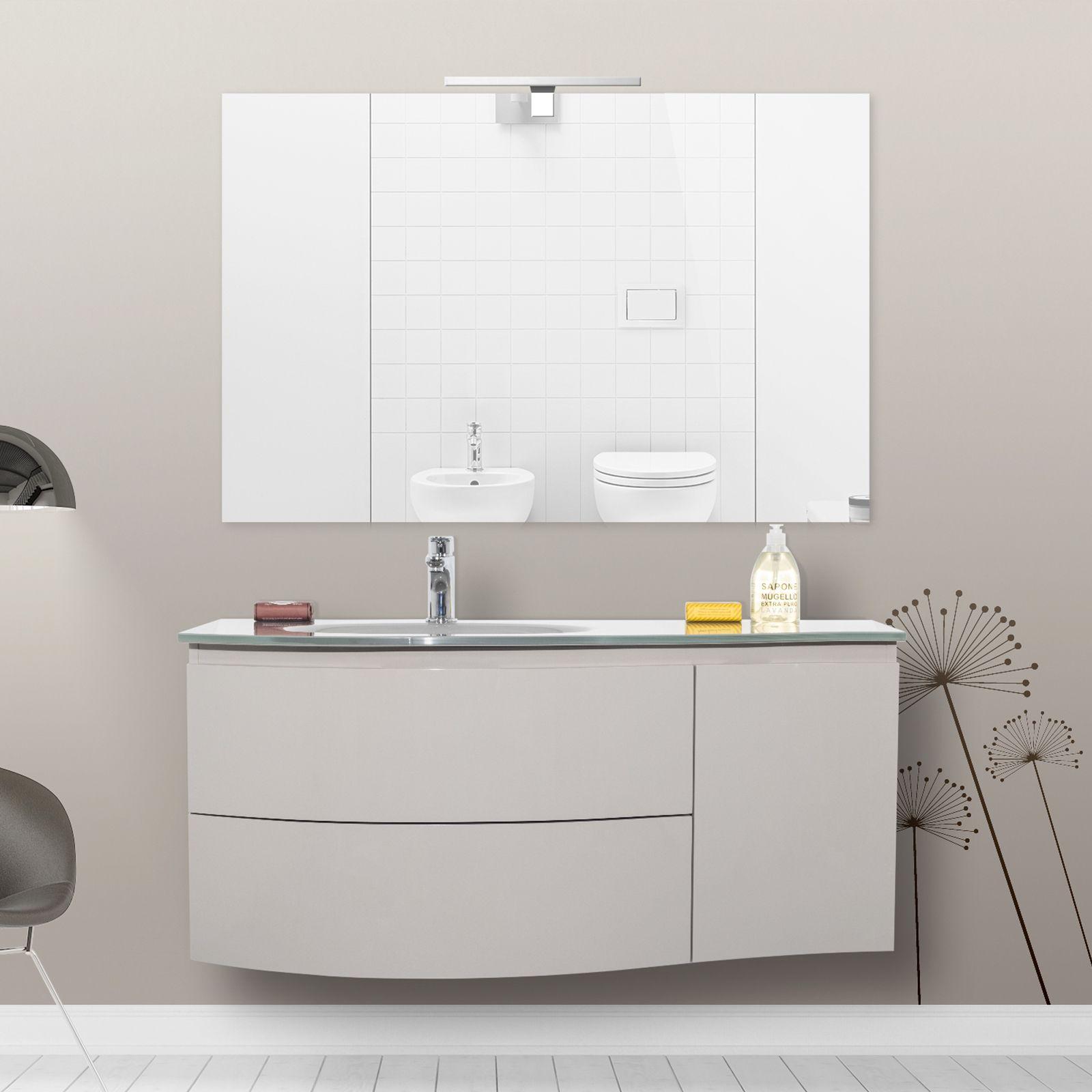 Mobile bagno asia3 110 cm con lavabo in cristallo - Bagno largo 110 cm ...