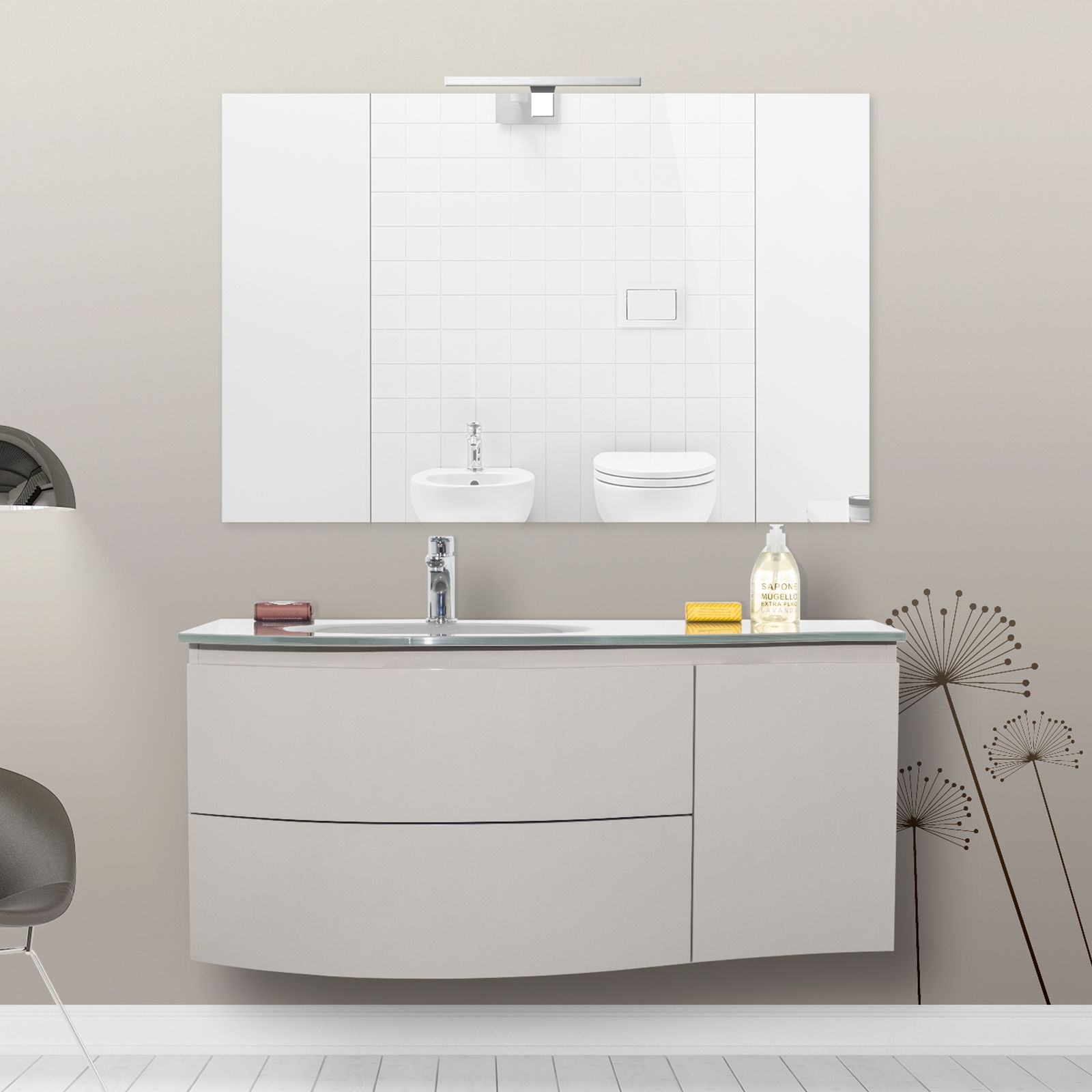 Mobile arredo da bagno 110 cm lavabo in cristallo for Arredo bagno mobili senza lavabo